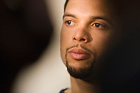 Utah Jazz guard Deron Williams (8) talks to the media prior to practice at the Zions Bank Basketball Center in Salt Lake City, Utah, Thursday, April 29, 2010 . August Miller, Deseret News .