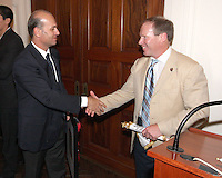Umberto Gandini of AC Milan shakes hands with Kevin Payne of DC United at a reception for AC Milan at DAR Constitution Hall in Washington DC on May 24 2010.