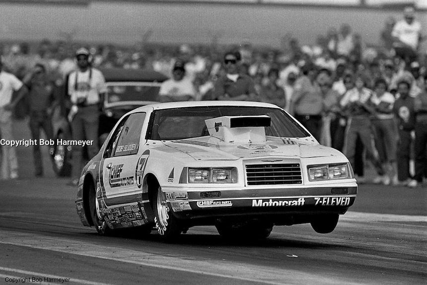 POMONA, CALIFORNIA: Bob Glidden drives his Ford Thunderbird Pro Stock car during a 1985 NHRA drag race at Pomona, California.