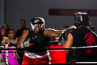 October 13, 2012, Delran, New Jersey, USA: Derek Frazier (left) lands a punch on opponent Geraldo Rios during the taping of the MTV reality show Made at It's On Boxing/MMA.