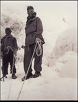 BNPS.co.uk (01202) 558833.Pic: George Lowe/Thames&Hudson..***Must Use Full Byline***..One of George Lowe's favourite photographs of Ed Hillary on Everest - just a typical day in the Icefall...Never-before-seen photographs of the famous British Mount Everest conquest in 1953 have come to light 60 years after the historic ascent...The snaps were taken by expedition member George Lowe who documented the historic first ever trek to the summit of the world's tallest peak...Many of Lowe's photographs have been widely published before but these eight images were kept by Lowe, possibly because he thought the others were better...Now, nearly 60 years to the day Sir Edmund Hillary became the first man in the world to conquer Everest, the pictures have been made available for a new book to commemorate the feat.