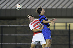 30 August 2013: Duke's Zach Mathers (right) and Rutger's Drew Morgan (left). The Duke University Blue Devils hosted the Rutgers University Scarlet Knights at Koskinen Stadium in Durham, NC in a 2013 NCAA Division I Men's Soccer match. The game ended in a 1-1 tie after two overtimes.