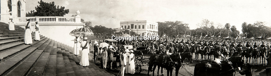 BNPS.co.uk (01202 558833)<br /> Pic: PhilYeomans/BNPS<br /> <br /> Looking like a Hollywood movie scene - Viscount Goschen arrives at Governers House in Madras 1924.<br /> <br /> Last Days of the Raj - A fascinating family album from one of the last Viceroy's of India reveal Britain's 'Jewel in the Crown' in all its splendour.<br /> <br /> The family album of Viscount George Goschen has been unearthed after 90 years, and provide's an amazing snapshot of the pomp and pageantry of a wealthy and powerful British family in India in the 1920s and 30's.<br /> <br /> They show the Governor of Madras and his family enjoying a lavish lifestyle of parades, banquets and hunting and horse racing in the last decades of the Raj.<br /> <br /> At the time, Gandhi was organising peasants, farmers and labourers to protest against excessive land-tax and discrimination. <br /> <br /> The album consists of some 300 large photographs. They have remained in the family for 90 years but have now emerged for auction following a house clearance and are tipped to sell for &pound;200.