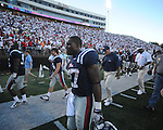 Ole Miss running back Enrique Davis (27) walks off the field following a loss at Vaught-Hemingway Stadium in Oxford, Miss. on Saturday, September 4, 2010. Jacksonville State won 49-48 in double overtime.