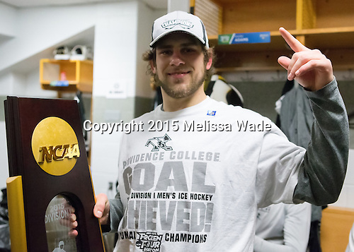 Stefan Demopoulos (PC - 12) - The Providence College Friars celebrated their national championship win after the Frozen Four final at TD Garden on Saturday, April 11, 2015, in Boston, Massachusetts.
