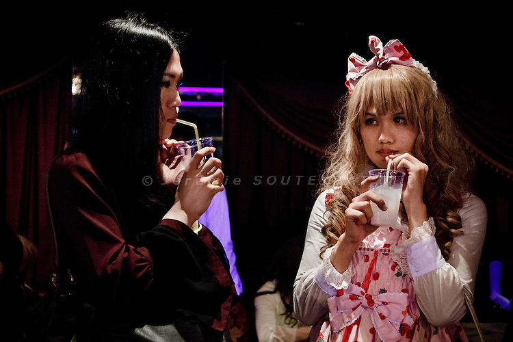 Tokyo, April 27 2013 - Laura Bodewig (knickname, right) and his friend Iruseira (left) at Propaganda party in Tokyo. Once a month, around 300 people gather to celebrate men dressed as girls. Josou (???can be married men who wish to have a new experience by dressing as women.