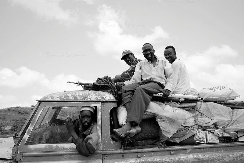 North Darfur, August 13, 2004.Janjaweed militiamen returning to their Masteriya district home.