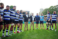 The Bath Rugby squad huddle together after the match. Aviva Premiership match, between Bath Rugby and Newcastle Falcons on September 10, 2016 at the Recreation Ground in Bath, England. Photo by: Patrick Khachfe / Onside Images