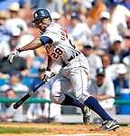 13 March 2007: Detroit Tigers outfielder Curtis Granderson in the action against the Los Angeles Dodgers at Holman Stadium in Vero Beach, Florida.<br /> <br /> Mandatory Photo Credit: Ed Wolfstein Photo