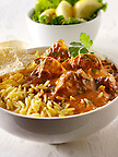 Chicken Makhani, pilau rice & popodoms. Bangledesh traditional curry