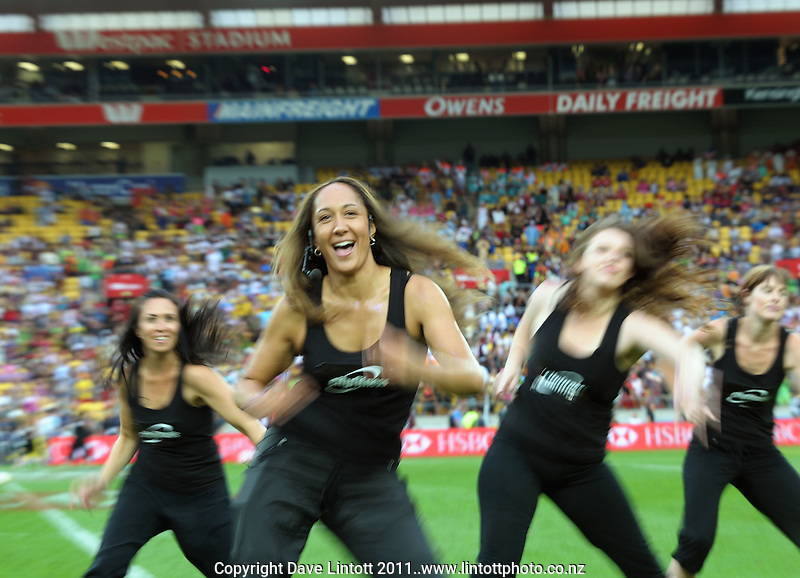 Cityfitness Zumba dancers perform during day one of the Hertz IRB Wellington Sevens at Westpac Stadium, Wellington, New Zealand on Friday, 3 February 2012. Photo: Dave Lintott / lintottphoto.co.nz