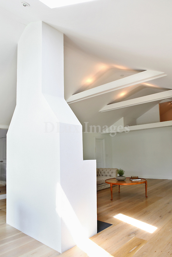 white modern ceiling with beams