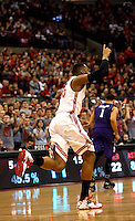 Ohio State Buckeyes center Trey McDonald (55) celebrates his two point score in the second half of their game against the Northwestern Wildcats at the Value City Arena in Columbus, Ohio on February 19, 2014. (Columbus Dispatch photo by Brooke LaValley)
