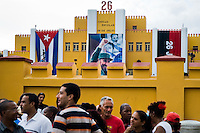 Cubans wait in a line to enter the former Moncada barracks during the annual celebration of the Cuban Revolution anniversary in Santiago de Cuba, Cuba, 26 July 2008. The Cuban revolution began when the poorly armed Cuban rebels, led by Fidel Castro, attacked the Moncada Barracks in Santiago de Cuba on 26 July 1953. The attack was easily defeated and most of the rebels were captured and later executed by the Batista regime. Although Fidel Castro had been sentenced to 15 years of prison, after less than two years he was released, he went to Mexico and in 1956, back in Cuba again, his guerilla group started a new rebellion.