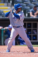Ozzie Martinez (28) of the Iowa Cubs batting during a game against the Oklahoma City Dodgers at Chickasaw Bricktown Ballpark on April 9, 2016 in Oklahoma City, Oklahoma.  Oklahoma City defeated Iowa 12-1 (William Purnell/Four Seam Images)
