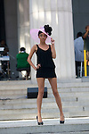 """Model wearing Harlem's Heaven Hats by Evette Petty at """"A Great Day In Harlem"""" Urban Fashion Fusion Showcase, NY 7/25/10"""