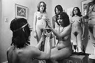 April 1974, Brooklyn, NY. Witchcraft is the oldest religion. 7 witches hold meetings at full moon occasions. High Priest purifies the body of the high priestess with magic objects.