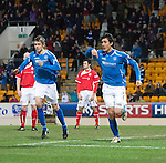 St Johnstone v Brechin...07.01.12  Scottish Cup Round 4.Fran Sandaza celebrates his goal with Murray Davidson.Picture by Graeme Hart..Copyright Perthshire Picture Agency.Tel: 01738 623350  Mobile: 07990 594431