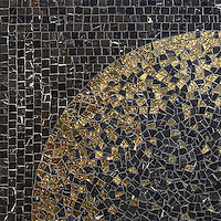 Soleil, a hand-cut mosaic shown in 24K Gold Glass and honed Saint Laurent, is part of the Aurora™ Collection by Sara Baldwin for New Ravenna.