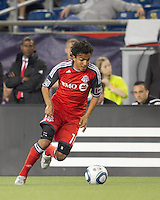 Toronto FC midfielder Oscar Cordon (16) on the attack. In a Major League Soccer (MLS) match, the New England Revolution tied Toronto FC, 0-0, at Gillette Stadium on June 15, 2011.