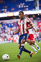 James Riley (7) of CD Chivas USA. The New York Red Bulls and CD Chivas USA played to a 1-1 tie during a Major League Soccer (MLS) match at Red Bull Arena in Harrison, NJ, on May 23, 2012.