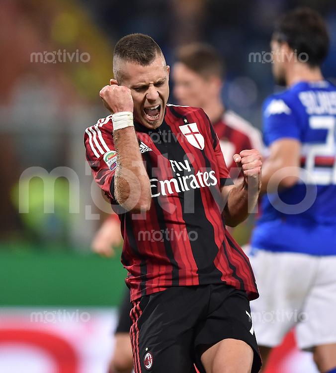 FUSSBALL INTERNATIONAL   SERIE A   SAISON  2014/2015   11. Spieltag Sampdoria Genua - AC Mailand                     08.11.2014 Jubel AC Mailand; Jeremy Menez