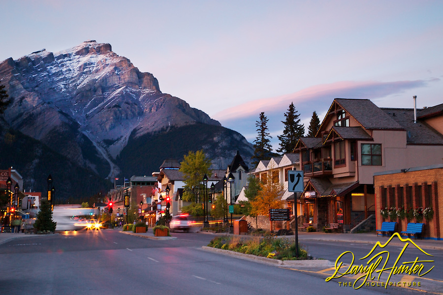 Sunset at the Town of Banff, Alberta in Banff National Park