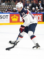 American Brock Nelson in action during tHe Ice Hockey World Championship quarter-final match between the US and Finland in the Lanxess Arena in Cologne, Germany, 18 May 2017. Photo: Marius Becker/dpa /MediaPunch ***FOR USA ONLY***