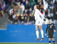Frisco, Texas - February 11, 2012: The USWNT defeated New Zealand 2-0 at Pizza Hut Park. Alex Morgan celebrates her goal to win the match.