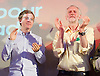 Jeremy Corbyn MP <br /> Rally for the Labour Leadership <br /> at the Camden Centre, London, Great Britain <br /> 3rd August 2015 <br /> <br /> Owen Jones <br /> <br /> Jeremy Corbyn  <br /> a British Labour Party politician who has been the Member of Parliament for Islington North since 1983<br /> <br /> <br /> Photograph by Elliott Franks <br /> Image licensed to Elliott Franks Photography Services