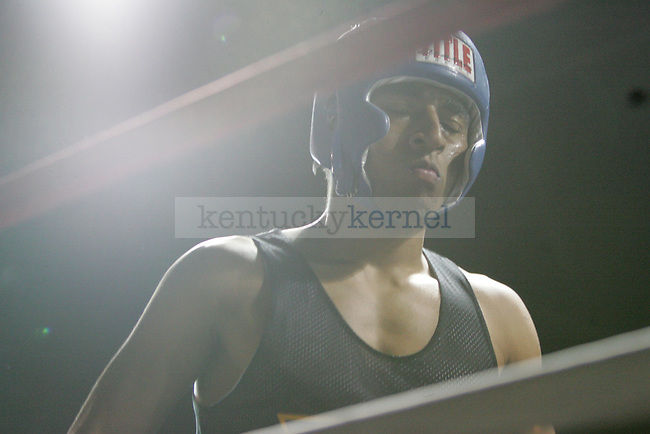 Ahmon McCollum of Sigma Chi gets ready for his bout at The Main Event, where proceeds benefitted The Huntsman Cancer Institute and The Ronald McDonald House in Lexington, Ky. on 11/11/11. Photo by Quianna Lige   Staff