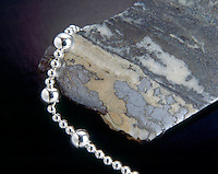 NATIVE SILVER in Calcite matrix & SILVER BEADS