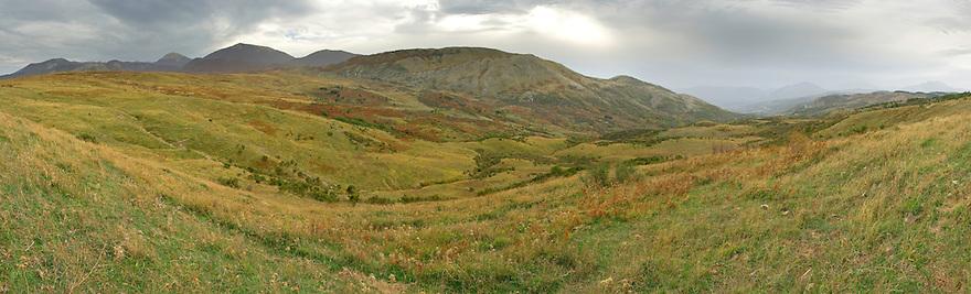 Panorama view on the Serra dell'Abete; Basilicata/Calabria, Pollino National Park, Italy. November 2008. Mission: Pollino National Park
