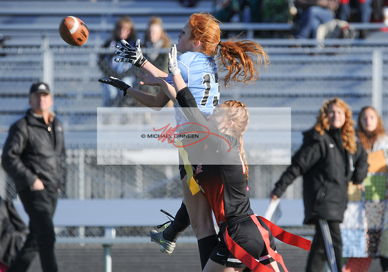 Chugiak's Carson Head leaps for a pass as West's in the state championship game at West High Saturday, October 15, 2016.  Photo for the Star by Michael Dinneen