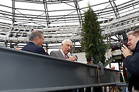 United States Senator Frank Lautenberg signs the last piece of steel before it is placed during the topping off ceremony at Red Bull Arena in Harrison, NJ, on April 14, 2009.