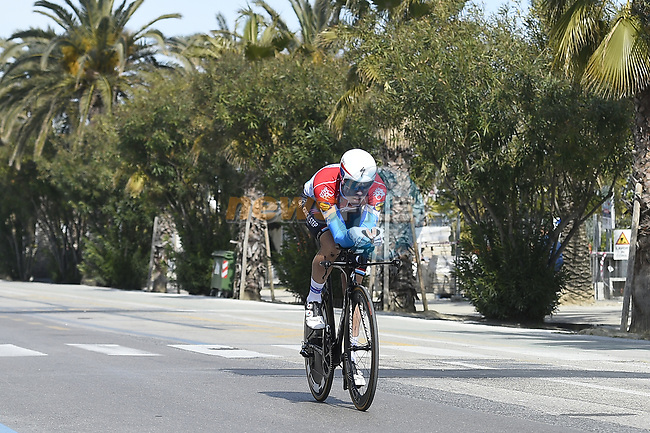 Bob Jungels (LUX) Quick-Step Floors recons the course before Stage 7 of the 2017 Tirreno Adriatico a 10km Individual Time Trial at San Benedetto del Tronto, Italy. 14th March 2017.<br /> Picture: La Presse/Fabio Ferrari | Cyclefile<br /> <br /> <br /> All photos usage must carry mandatory copyright credit (&copy; Cyclefile | La Presse)