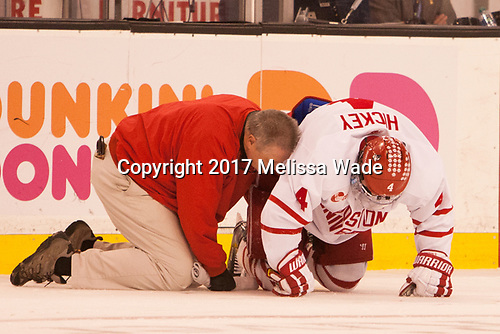 Larry Venis (BU - Assistant Director-Athletic Training Services), Brandon Hickey (BU - 4) - The Harvard University Crimson defeated the Boston University Terriers 6-3 (EN) to win the 2017 Beanpot on Monday, February 13, 2017, at TD Garden in Boston, Massachusetts.