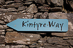 Kintyre Way Sign against stone wall, Scotland