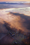 Aerial, Pennsylvania, farm views, Perry Co., PA, morning fog