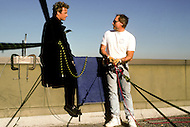 """Los Angeles, U.S.A, 1989. Christopher Lambert during the filming of the movie """"Why Me?"""". He is very famous for perfoming his own stunts."""