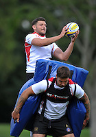 Jeff Williams of Bath Rugby claims the ball. Bath Rugby training session on September 4, 2015 at Farleigh House in Bath, England. Photo by: Patrick Khachfe / Onside Images