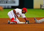 18 March 2009: Washington Nationals' infielder Ronnie Belliard is unable to hold onto the ball during a Spring Training game against the Florida Marlins at Space Coast Stadium in Viera, Florida. The Marlins defeated the Nationals 7-5 in the Grapefruit League matchup. Mandatory Photo Credit: Ed Wolfstein Photo
