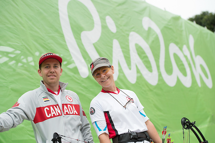 RIO DE JANEIRO - 16/9/2016:  Karen van Nest and her coach Philip Henderson after she competed in the Women's Ind. Compound - Open 1/8 Elimination Match the Sambodromo during the Rio 2016 Paralympic Games in Rio de Janeiro, Brazil. (Photo by Matthew Murnaghan/Canadian Paralympic Committee)