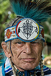 Richard (Duke of Sandy Hook) Simmons, Seneca and Iroquois Native American, with Turtle Nation bead work and dressed in Northern traditional regal.  <br />