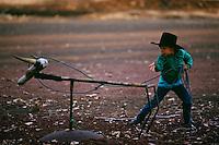 Young cow poke practices roping a wooden steer on the Dixie Valley Ranch in a remote part of Lassen County.