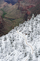 Upper section of Bright Angel trail covered in snow, Grand Canyon national park, Arizona, USA