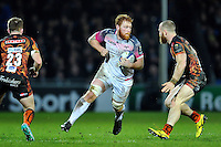 Dan Baker of the Ospreys in possession. European Rugby Champions Cup match, between Exeter Chiefs and the Ospreys on January 24, 2016 at Sandy Park in Exeter, England. Photo by: Patrick Khachfe / JMP