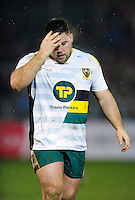 Kieran Brookes of Northampton Saints looks dejected during a break in play. Aviva Premiership match, between Bath Rugby and Northampton Saints on February 10, 2017 at the Recreation Ground in Bath, England. Photo by: Patrick Khachfe / Onside Images