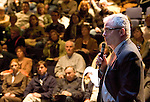TORRINGTON, CT- 06 JANUARY 2008 --010609JS15-Vincent McDermott, a senior vice president from the architectual frim Milone and MacBroom, talks about a plan for downtown Torrington that will guide future development during a meeting at the Warner's Black Box Theatre in Torrington.  <br /> Jim Shannon / Republican-American