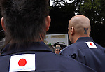 Japanese nationalists congregate at Yasukuni Shrine in Tokyo, Japan. very year on August 15, the day Japan officially surrendered in WWII, tens of thousands of Japanese visit the controversial shrine to pay their respects to the 2.46 million war dead enshrined there, the majority of which are soldiers and others killed in WWII and including 14 Class A convicted war criminals, such as Japan's war-time prime minister Hideki Tojo. Each year speculation escalates as to whether the country's political leaders will visit the shrine, the last to do so being Junichiro Koizumi in 2005. Nationalism in Japan is reportedly on the rise, while sentiment against the nation by countries that suffered from Japan's wartime brutality, such as China, has been further aggravated by Japan's insistence on glossing over its wartime atrocities in school text books...Photographer:Robert Gilhooly..